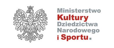 Logotyp Ministerstwa Kultury Dziedzictwa Narodowego i Sportu. Z lewej strony godł